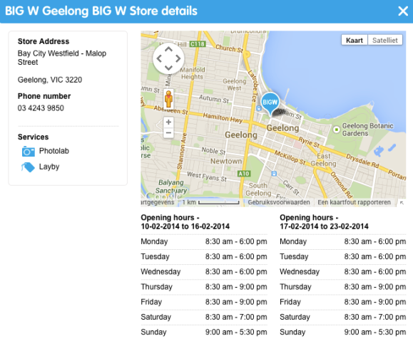 BigW locatie Geelong
